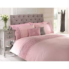 bedding romantic satin embroidered jacquard pink lace
