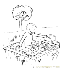 picnic with curious george coloring page free curious george