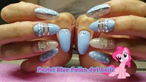 pastel blue polka dot acrylic nails nail polish youtube