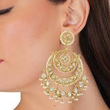 designer earrings buy jewellity kundan chandbalis with kundan and pearl