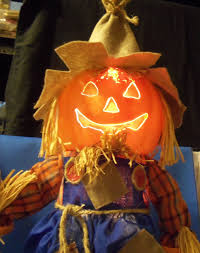halloween harvest fiber optic pumpkin scarecrow multi color broom