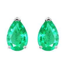 emerald stud earrings 1 50ct three prong pear emerald stud earrings j r jewels