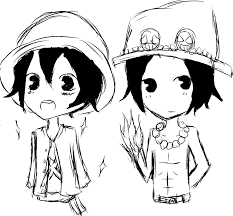 ace and luffy chibi sketch by toadfrog55 on deviantart