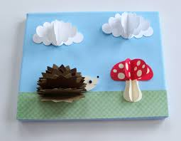 original hedgehog and mushroom 3d paper wall art on 8 x 10 canvas