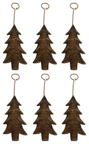 hammered copper tree ornament set of 6