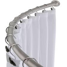Bathroom Shower Curtain Rod Bathroom Enchanting Curved Shower Curtain Rod With White Stain