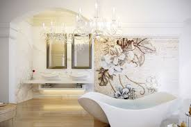 luxurious feminine bathroom with gold accent with floral motive