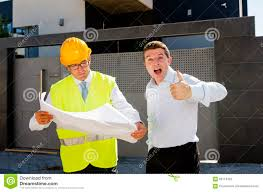 happy customer and constructor foreman worker talking on new house