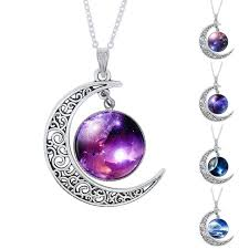 purple necklace pendant images Fashion purple nebula space universe women galaxy crescent moon jpg