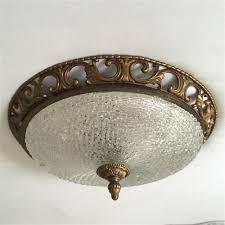 Deckenleuchte Schlafzimmer Messing Antik Große Plafoniere Deckenlampe Aus Messing Kristallglas