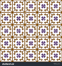 Floral Home Decor Pattern Colored Pixels Geometric Floral Style Stock Illustration
