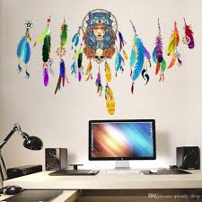 dream catcher flying feathers wall sticker symbol indian home