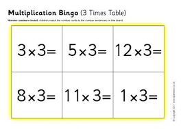 3times Table Multiplication Bingo 3 Times Table Sb12057 Sparklebox