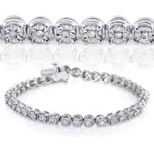 sterling silver bracelet with diamonds images Annello by kobelli sterling silver 1 2ct tdw illusion set diamond jpg