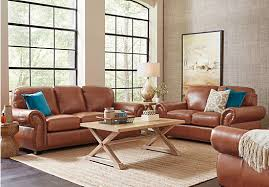 Balencia Light Brown Leather  Pc Living Room Leather Living - Light colored living rooms