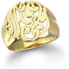 Monogram Ring Gold Charm U0026 Chain Mini Signet Monogram Ring Gold Rings Jewelry