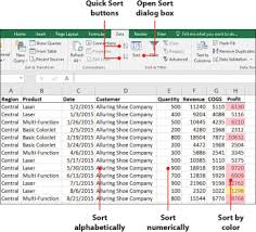 sorting data in microsoft excel 2016 using the sort dialog box