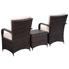 3 pcs patio pe rattan wicker cushioned seat outdoor furniture