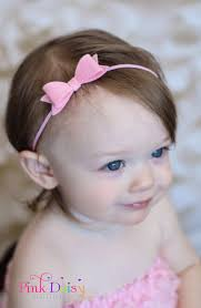 headband baby small bow headband pink felt bow from thepinkdaisyboutique on