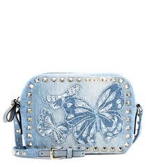 light blue crossbody purse valentino garavani rockstud denim crossbody bag light blue women