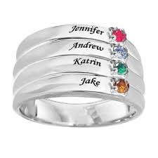 stackable engraved mothers rings 4 birthstones mothers ring flanked with diamond ring