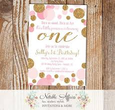 pink and gold first birthday invitations marialonghi com