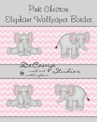 PINK GREY CHEVRON Elephant Wallpaper Border Wall Decals Girls - Wall borders for kids rooms