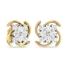 stud gold diamond gold stud earring at rs 95000 pair diamond stud earring