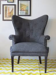 Chevron Armchair Furniture How To Reupholster A Wingback Chair With Colorful