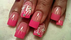 how to pink tips acrylic nails full tutorial youtube