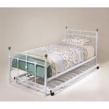 White Metal Bed Frame Single Brilliant Size Unfinished Solid Wood Trundle Bed Frame With 4
