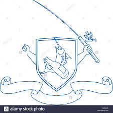 drawing sketch style illustration of hand holding fishing rod and