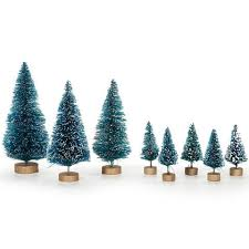 frosted sisal trees green white 2 to 5 inch asst