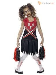 girls zombie cheerleader costume halloween fancy dress