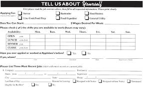 applebee u0027s job application printable job employment forms