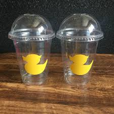 duck decorations 24pcs diy vinyl sticker clear disposable yellow duck 12oz cups