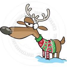 cartoon reindeer wearing christmas sweater by ron leishman toon