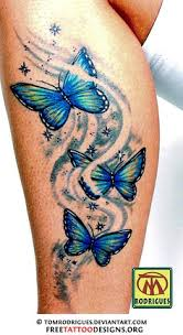 colorful butterfly ribbon tattoos on leg in 2017 real photo