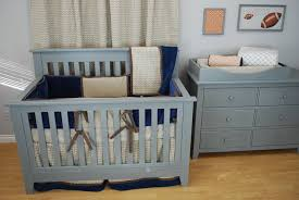 Crib Bedding Sets by Tan Navy And Orange Sports Theme Nursery With Crib Bedding Set By