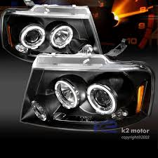 05 ford f150 headlights 04 08 ford f150 dual halo led projector headlights black