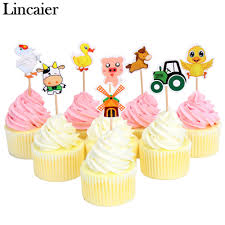 compare prices farm animal decor online shopping buy low price lincaier pieces farm animals cupcake toppers party decorations kids child boy supplies cow pig chicken
