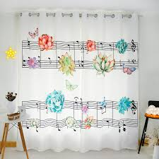 Curtains Music Funky White Butterfly Flower Music Note Curtains