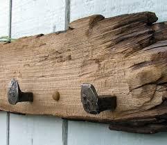 coat rack with railroad spike knobs wall decor mud room western