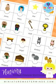 nativity themed printable preschool word puzzles miniature