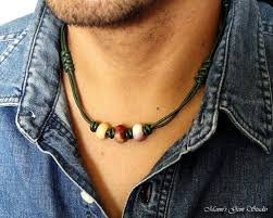 choker style necklace sale images Green leather and gemstone tribal style necklace for men mens jpg