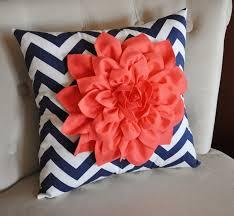 coral dahlia on navy and white zigzag pillow chevron pillow