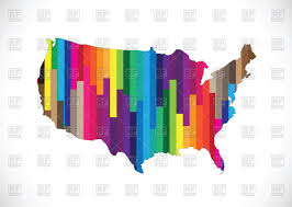 Outline Of Usa Map by Outline Of Usa Map Filled With Motley Striped Pattern Vector Image