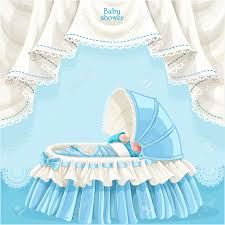 blue baby shower card with cute little baby in the crib royalty