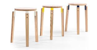 set of 2 stacking stool ash and white wood dorso made com