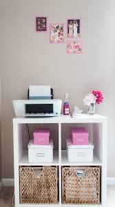 Desk With Printer Storage Bonnie Bakhtiari U0027s Pink And Chic Home Office Office Tour